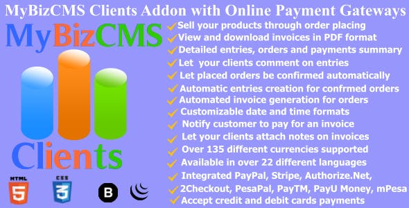 MyBizCMS Clients : Addon with Place Order and Pay with Online Gateways