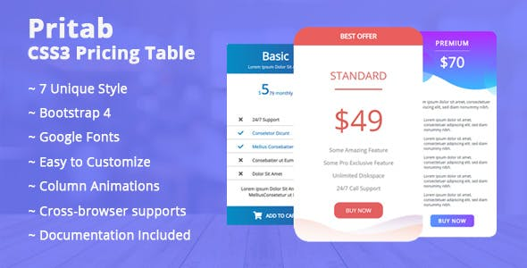 Pritab CSS3 Pricing Table