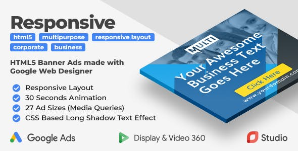 Responsive - Multipurpose Animated HTML5 Banner Ad (GWD)