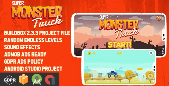 Super Monster Truck - Buildbox Template + Android Studio + GDPR