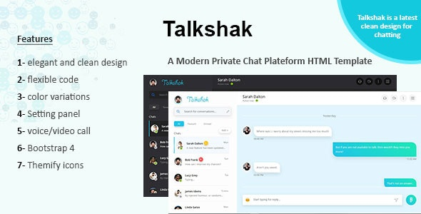 Talkshak Chat Messenger Responsive Template by Dewwater