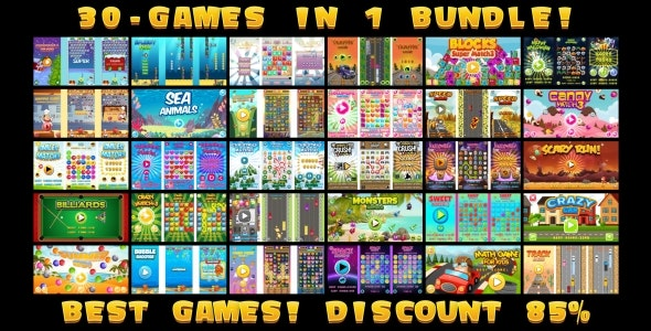 30 HTML5 GAMES IN 1 SUPER BUNDLE! (Construct 3 | Construct 2 | Capx) - CodeCanyon Item for Sale