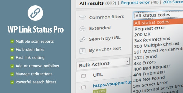 WP Link Status Pro - Fix Broken Links & Manage Redirections by