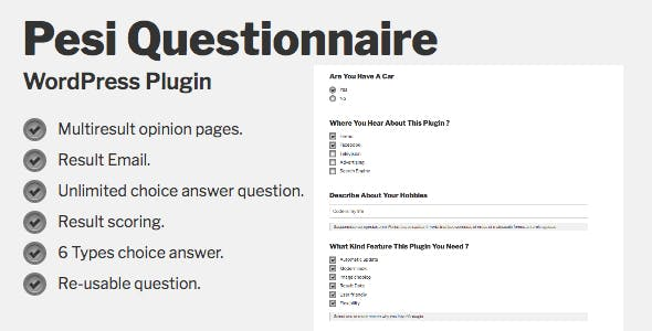 Pesi Questionnaire - Multiresult Survey and Quiz WordPress Plugin