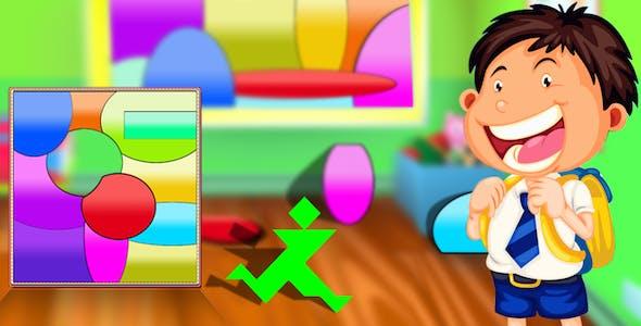 Curved Shape Puzzle Tangram Android Studio + Kids logic brain power educational memory game