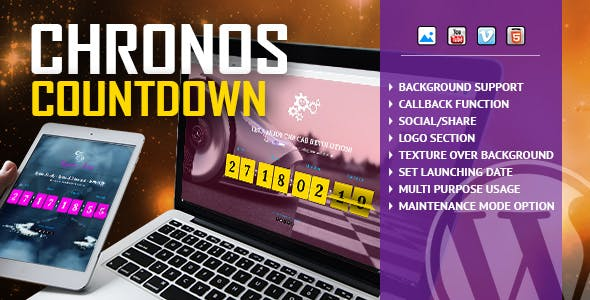Chronos CountDown - Responsive Flip Timer With Image or Video Background - WordPress Plugin