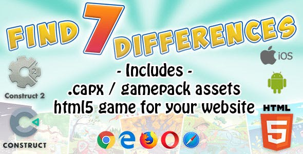 Find 7 Differences Game - Construct 2 Source Code and HTML5 Files for your Site!