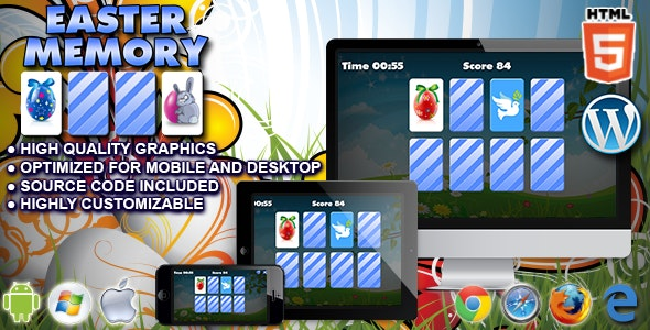 Easter Memory - HTML5 Memory Game - CodeCanyon Item for Sale