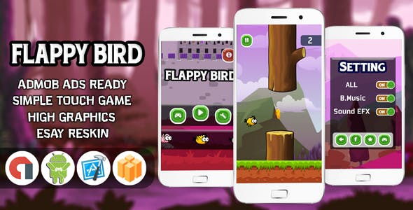 FLAPPY BIRD WITH ADMOB - ANDROID STUDIO & ECLIPS - CodeCanyon Item for Sale