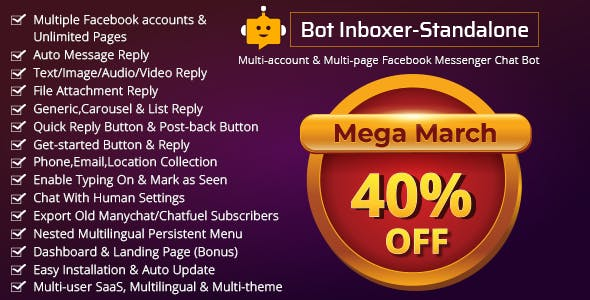Bot Inboxer - Standalone :  Multi-account & Multi-page Messenger Chat Bot for Facebook - CodeCanyon Item for Sale