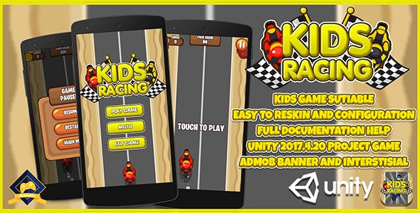 Kids Motor Racing LTS UNITY + Admob (KIDS GAME) + EASY RESKIN