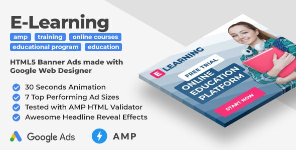 E-Learning - Online Education AMP HTML Web Banner Templates (GWD, AMPHTML)