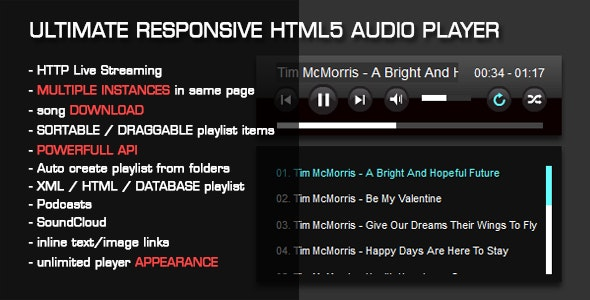 HTML5 Audio Player with Playlist by Tean | CodeCanyon
