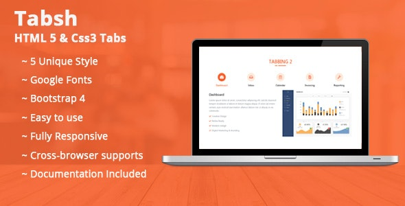 Tabsh HTML 5 & CSS3 Tabs - CodeCanyon Item for Sale