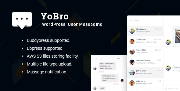 YoBro - WordPress Private Messaging Plugin - CodeCanyon Item for Sale