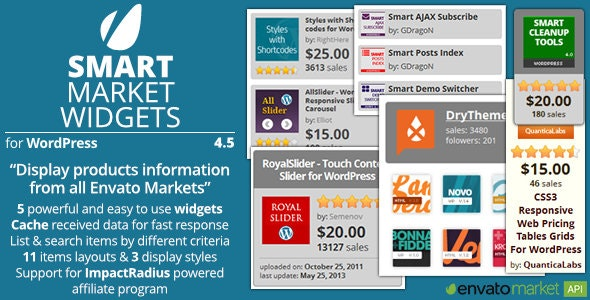 Smart Market Widgets - Plugin for WordPress and Envato Market - CodeCanyon Item for Sale