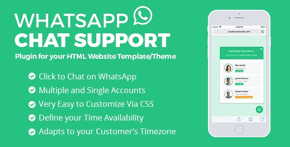 WhatsApp Chat Support - jQuery Plugin by castlecode | CodeCanyon