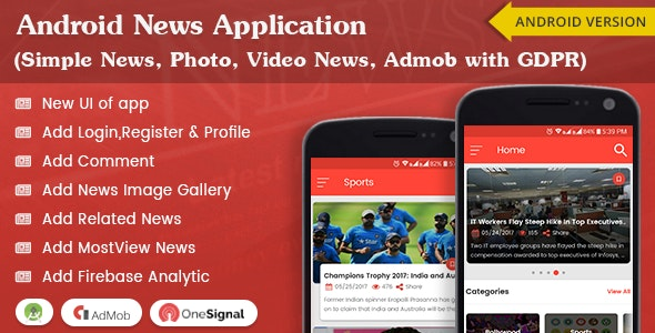 Android News Application (Simple News, Photo, Video News, Admob with GDPR) - CodeCanyon Item for Sale