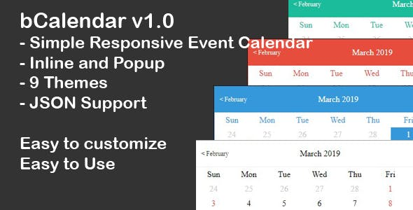 bCalendar - Simple Event Calendar
