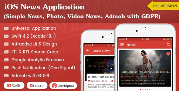 iOS News Application - Swift4 (Simple News, Photo, Video