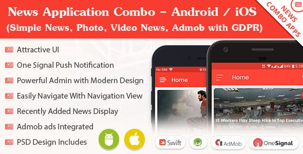 News Application Combo - Android / iOS (Simple News, Photo, Video News, Admob with GDPR)