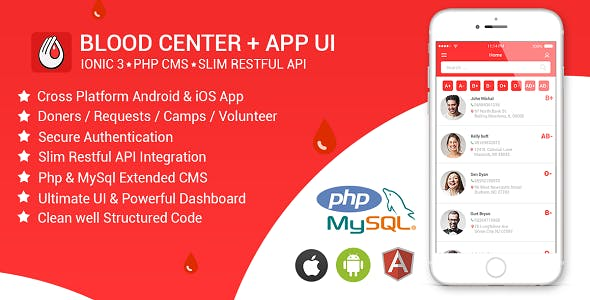 Blood Center | Blood Donation App | Android & iOS | PHP admin Dashboard | Rest API
