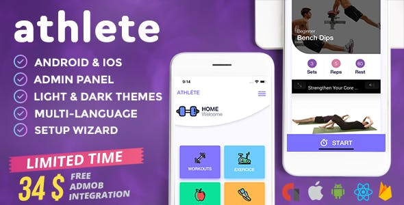 Athlete - Fitness & Workout Mobile App for iOS and Android with Admin Panel, Languages & Themes