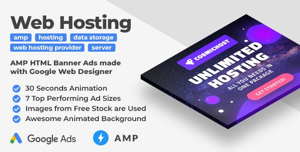 Cosmichost - Web Hosting Services AMP HTML Web Banner Templates (GWD, AMPHTML)