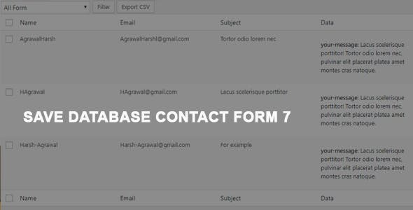 Contact Form 7 Save To Database / CSV / PDF