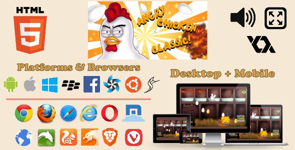 Angry Chicken Classic - HTML5 Retro Arcade Game
