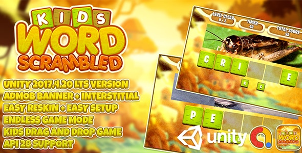 Kids Word Scrambled (Drag And Drop) + Unity3d LTS + Admob Ads Ready + EASY Reskin - CodeCanyon Item for Sale
