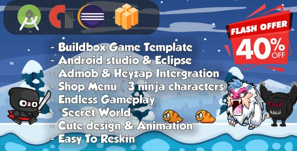 Ninja Adventure - Android Studio & Eclipse & Builbdox Game Template