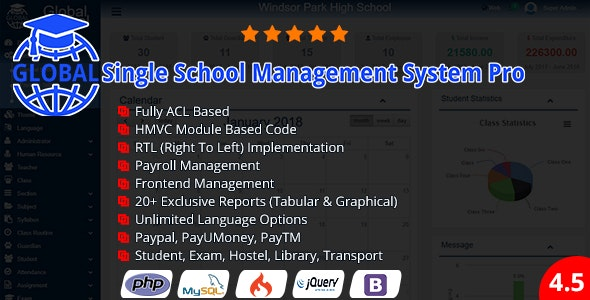 Global - Single School Management System Pro - CodeCanyon Item for Sale