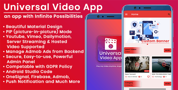 Universal Video app : 5 Apps in one with Admin Panel - CodeCanyon Item for Sale