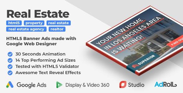 Superior Real Estate HTML5 Web Ad Banner Templates (GWD)