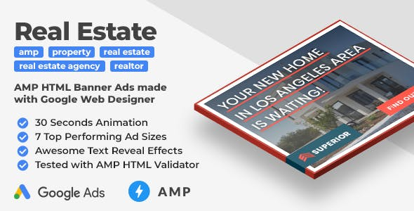 Superior Real Estate AMP HTML Web Ad Banner Templates (GWD, AMPHTML)