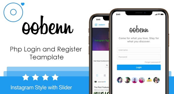 Instagram Style Login and Register Page for oobenn - CodeCanyon Item for Sale
