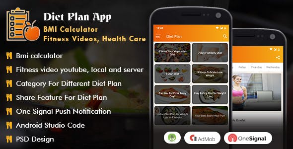 Android Diet Plan App (BMI Calculator, Fitness Videos, Health Care)