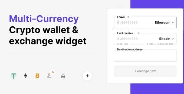 Multi-currency Crypto Wallet and Exchange Widgets for WordPress