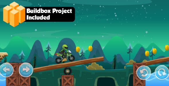 Moto bike race game with Buildbox Project - share and review button-easy to reskin