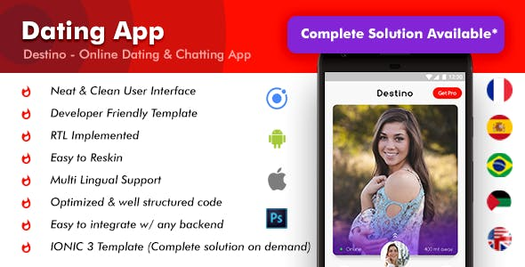 Online Dating Android App + iOS App Template | Destino (HTML+CSS files IONIC 3)