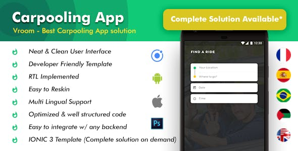 Car Pooling Android App + Car Pooling iOS App | Template (HTML + CSS in IONIC 3) | Vroom