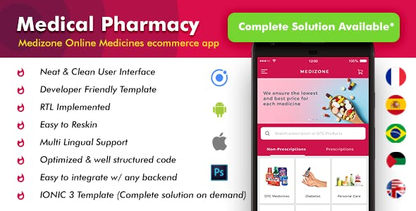 Medical Pharmacy ecommerce Android App + iOS App Template (HTML + CSS in IONIC 3 ) | Medizone