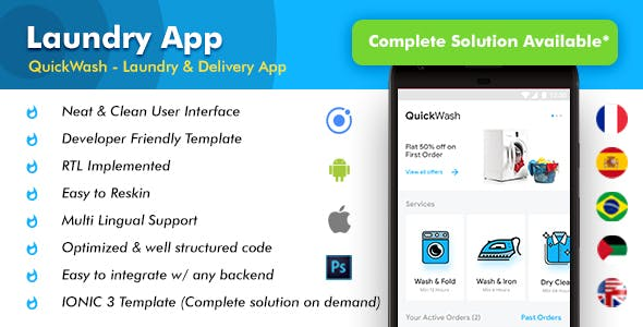 Laundry Android App + iOS App Template | Quickwash (HTML+CSS files IONIC 3)