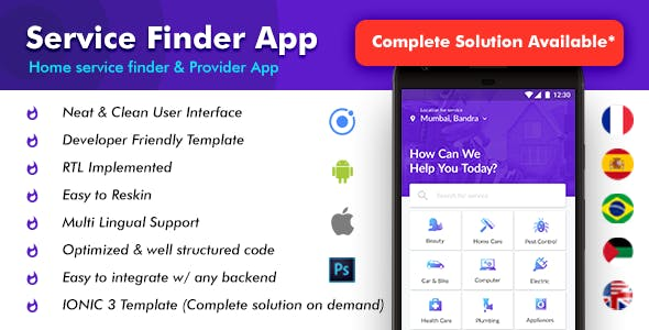 Home Service Finder Android App + service finder iOS App Template| Handyman (HTML+CSS files IONIC 3)