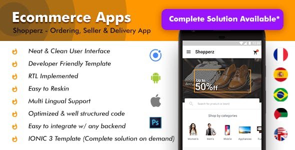 Shopperz Ecommerce Android + iOS App Template (HTML + CSS files in IONIC 3)