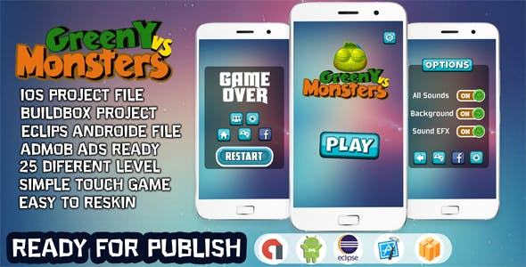 GREENY VS MONSTERS - ANDROID STUDIO & ECLIPSE + ADMOB