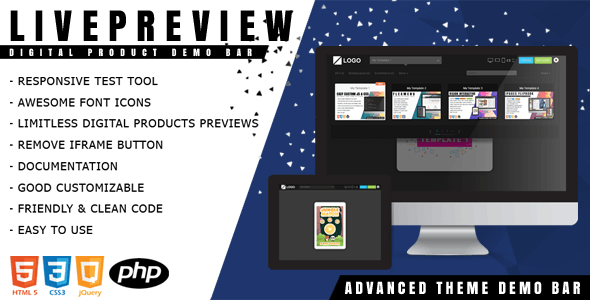 LivePreview - Responsive Digital Product Demo Bar