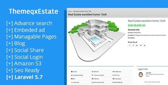 ThemeqxEstate - Laravel Real Estate Property Listing Portal - CodeCanyon Item for Sale