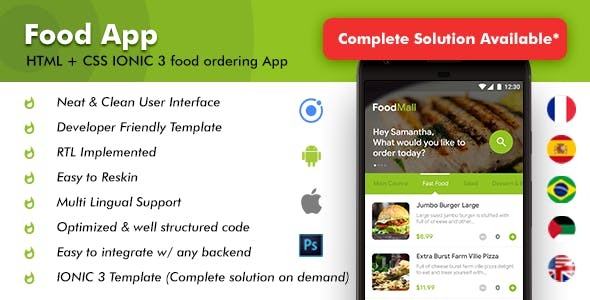 Food Ordering Restaurant Android + iOS App Template (HTML + CSS files in IONIC 3) | Foodmall